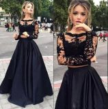 Black Lace Party Prom Gowns Long Sleeves Evening Dress E2017