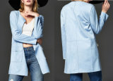 Ladies Collarless Jacket with Fashion Long Spring and Autumn Jacket