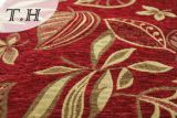 2016 100% Polyester Red Cloth Gold Leaves Chenille Jacquard Sofa Cloth