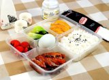 Disposable 6 Compartment Bento/Meal/Peanuts Box with Clear Lids/Cover