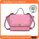 2015 New Design Euramerican Style Rivet Genuine Leather Handbag