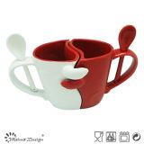 11oz Ceramic Valentine Mugs with Spoon
