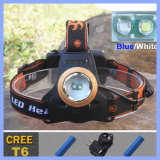 2 T6 CREE Zoom 2000lm Blue White LED Rechargeable Headlamp