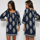 Wholesale Long Sleeve Leaf Printing Women Loose Western Dresses