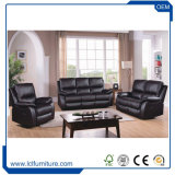 China Modern Design Black Office Living Room Genuine Leather Sectional Sofa Set