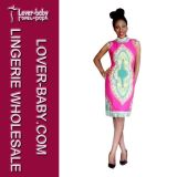 Pink Woman Pencil Sexy African Dress (L28066-1)
