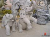 Grey Granite Stone Elephant Carving Garden Decortion Sculptures