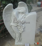 White Marble Sleeping Angel Sculpture Headstone for Cemetery