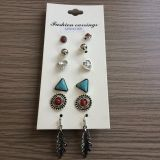 Retro Set Earrings with Heart-Shaped, Ball and Triangle Fashion Jewellery