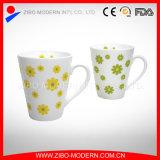 V Shape Ceramic Mug with Fresh Flower Designs