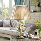 Phine 90232 Clear Crystal Table Lamp with Fabric Shade