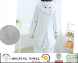 Ladies Coral Fleece Cartoon Penguin Hooded Bath Robe Df-8857