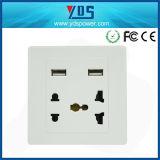 EU/UK/Us/Un Type Electrical Socket, 5V 2.1A Dual USB Wall Socket