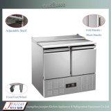 Stainless Steel Double Door Pizza Table Refrigerator Freezer