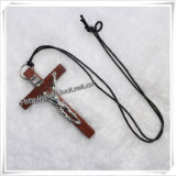 Valentine′s Day New Punk Style Wooden Crucifix Pendant Necklace (IO-an081)