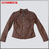 Woman PU Jacket with Brown Colour