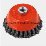 75mm Threaded Cup Wire Brush Wheel Twisted Wire for Welding Scar Removal