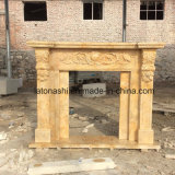 Beige/Yellow Travertine Fireplace Mantel with Flower Carving
