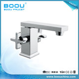 (BQ5325-1J) Boou Square Brass Dual Handle Basin Faucet