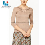 3/4 Sleeve Knitted Pullover with Knot