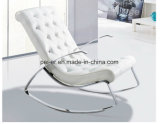 Moden Hotel Leisure Leather Lounge Rocking Steel Chaise Chair (PE-F6D)