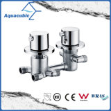 Modern Bathroom in-Wall Mixer Twin Thermostatic Shower Valve Chrome