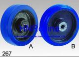 Blue Elastic Rubber Heavy Duty Industrial Single Wheel