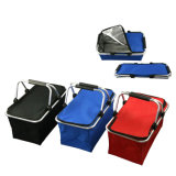 Collapsible Insulated Picnic Basket Cooler Bag with Aluminium Handle