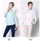 100% Chiffon Fabric Long Sleeve Ladies Summer Blouse