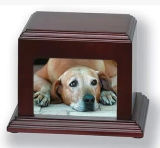 Wood Dog Cremation Ashes Urns with Photo
