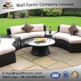 Top Glass Round Table Garden Furniture Brown Half Moon Rattan Sofa Set