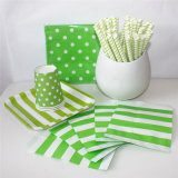 Green Paper Straw Bag Cup and Plate with Different Designs