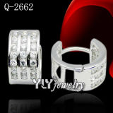 Fashion Jewelry 925 Silver Circle-Shaped Earring/Huggies (Q-2662)
