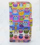 OEM Customized UV Printing PU Leather Wallet Folio Style Smart Cell Mobile Phone Cover for Samsung Galaxy S4 (Owl)