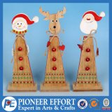 Wooden Snowman Santa and Deer Design for Christmas Home Ornament