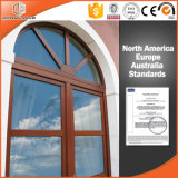 America Style Specialty Window Aluminum Clad Solid Wood Casement Window with Grille, Customized Window Shape
