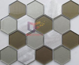 100*100mm Hexagon Glass Mix Aluminium Mosaic (CFA89)