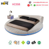 2017 Most Popular White Leather Bed King Size Round Bedroom Furniture (HC558)