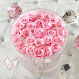 Clear Transparent 21 Rose Display Round Acrylic Flower Box with Lids