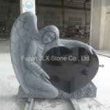 Granite Black Angel with Heart Tombstone