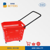 Rolling Trolley Hand Shopping Basket Cart for Supermarket Mall