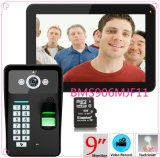 9inch Recording RFID Password Fingerprint Recognition 900tvl Color Video Doorphone