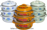 Enamel Casserole with Colofull Decor, 3 Set, 5set, 6set or 7 Set, with Enamel Lid or Glass Lid