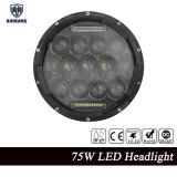 "Motorcycle Accessories, for Jeep Wrangler and Truck 7"" 75W 4D Lens CREE LED Round High Low Beam Headlight"