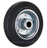 Black Rubber Tyre and Steel Rim Wheel