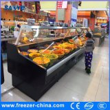 Deli Case Display Refrigerator with Lift-up Curved Front Glass
