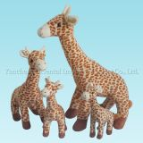 Plush Standing Giraffe Family Toy with Soft Material