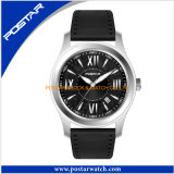 Fashionable Quartz Watch for Men with Genuine Leather Band