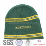 Promotion Knitted Beanie with Stripe Design and Embroidery Logo