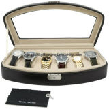 6 Black Watch Box Storage Case with Lock